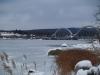 Nya gång- och cykelbron i vinterskrud.